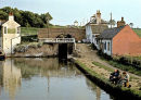 Anglers at Foxton on the Grand Union Canal in the late 1960's. Historical view.
