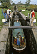 Narrow boat in a lock on the Macclesfield  canal in the 70s.
