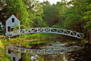White bridge and pond. new England USA