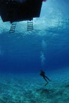 Decompression beneath the dive boat, Maria La Gorda
