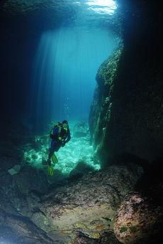 Entering Paleokastritsa caves