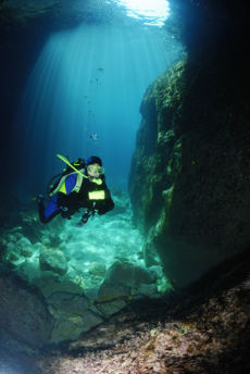 Entering the Paleokastritsa Caves