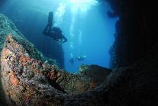 Exiting the caves, Paleokastritsa, Corfu