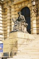 Statue at Entrance to Rudolfinum, Old Town, Prague