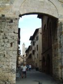 Peek of San Gimignano through Entrance, Tuscany