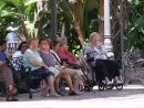 Spanish women watching the world go by! Main plazza, Fuegirola, Spain