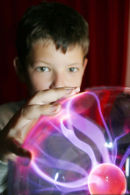 A child experiments with a vandergraph generator as part of a Careers Scotland workshop