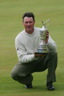 Todd Hamilton collects the claret jug at the Open Championship at Royal Troon 2004