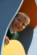 Child in play area Irvine taken for North Ayrshire Council to publicise new community centre