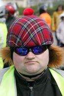 A Harley Davidson Biker with tartan helmet at Burns Festival Harley ride out