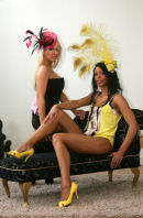 Two models wearing fascinators photographed for Tantrums & Tiaras