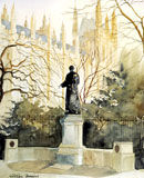Emmeline (Emily) Pankhurst watercolour Houses of Parliament