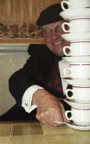 FRED DIBNAH CREATES A 'STACK' OF TEAS.