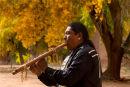 A Navajo musician, Travis Terry, in Canyon De Chelly