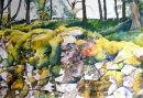 Mossy Drystone Wall Settle