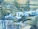 Collagraph print of the Barrio Alto, Trevélez, Sierra Nevada, Spain