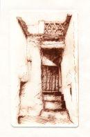 Drypoint print of an interesting corner of Capileira