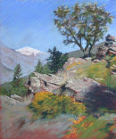 Plein air pastel painting of the valley of Trevelez, Sierra Nevada, Spain