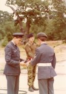 Sq.Ldr Halstead and Lt Peter Evans with F/Sgt Tim Ritchie at St Martin's Plain or Crowborough