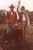 Winners of the Annual CCF Silly Hats Competition who now wish they hadn't entered... L-R Richard Cocks (last CO WESCCF),Peter 'Toulouse Lautrec' Evans, Terry Walton. By the way the competition was won every year until his retirement by Lawrence Halstead...