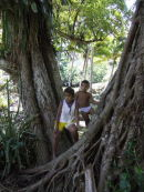 Village boys in forest