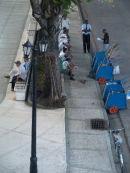 Street cleaners' coffee break, Bayamo