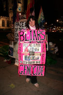 Barbara Tucker's placard, Bliars Genocide