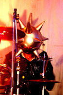 Chrome Hoof, drummer with health & safety helmet !
