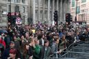 Demonstrators outside the Bank of England