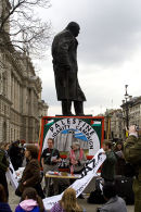 Winston Churchill statue is seen at peace demo